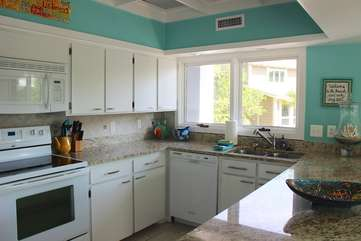 The kitchen is roomy enough for multiple cooks.