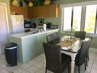 A fully stocked kitchen is off the living area for your meals.
