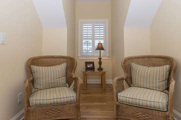 A wonderful reading nook is in the third bedroom.