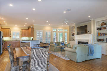 An open floor plan makes family time easy at this vacation retreat.