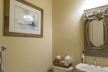 A powder bath is on the first floor off the entry hall.