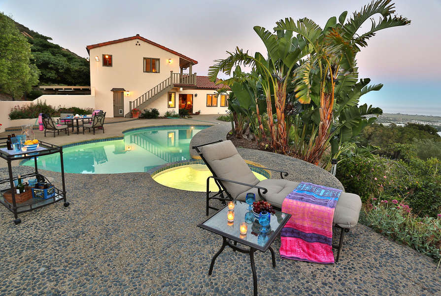 Pool terrace with spa, dining, Jenn-Air outdoor kitchen