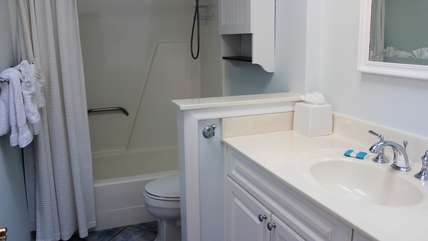The renovated master bath has a shower tub and oversized vanity.