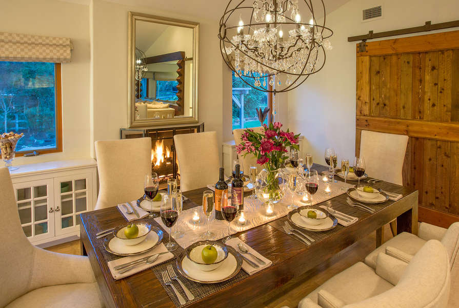 Romantic dining by firelight