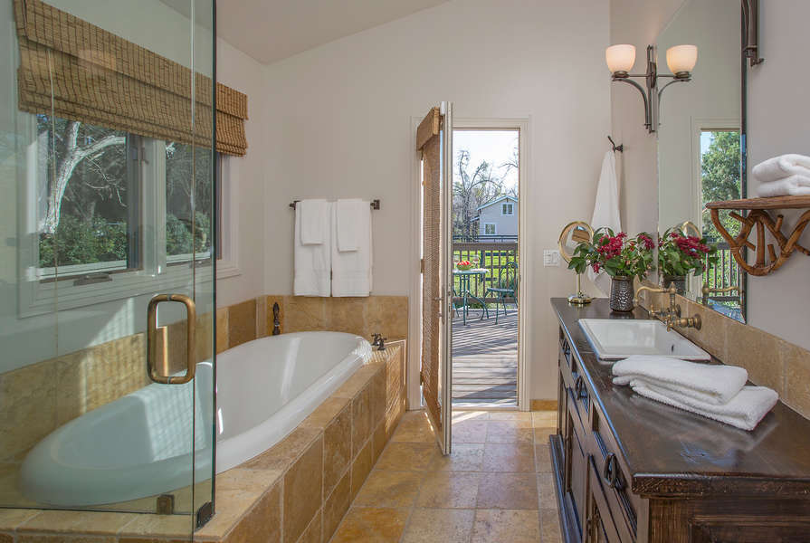 Master Bathroom with door to outdoor deck