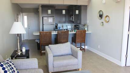 The open floor plan allows all to be involved in the activities.