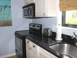 It has stainless steel appliances.