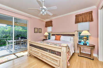 Master Bedroom with Entrance to Pool Area; New Window Treatments; Flat Screen TV!