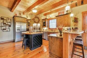 Custom Butcher's block, Granite countertops, bar seating, Roku TV in the kitchen and heated flooring