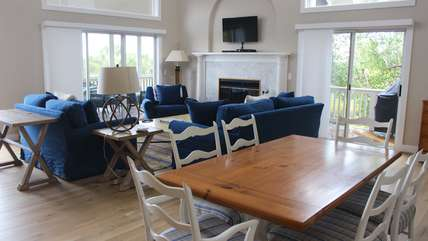 Recent updates to this home include hardwood floors and new furnishings.