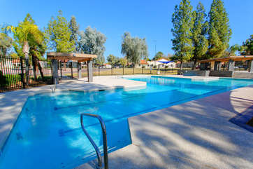 Sparkling community pool is not heated but especially inviting on warm and sunny days