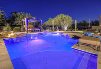 Designer pool with option to heat will delight your senses both day and night