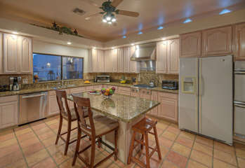 Remodeled kitchen is completely stocked to ensure meal and serving processes are smooth