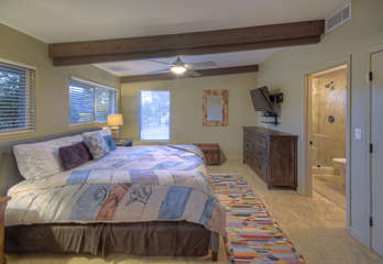 West master suite has TV and walk-in closet