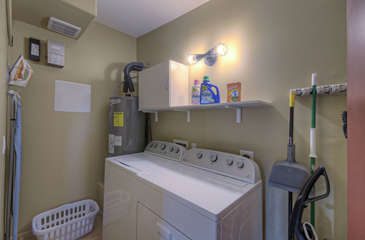 Completely stocked laundry room keeps your wardrobe clean and ready for the next adventure