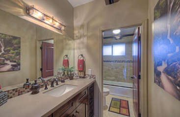 Third bathroom has conveniently enclosed tub/shower combination and commode to maximize privacy
