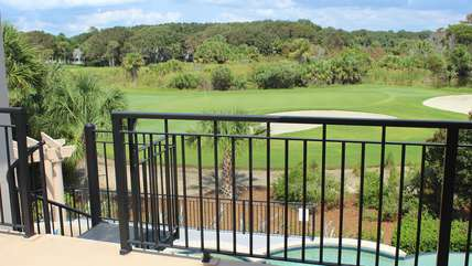 It offers views of the 10th green of Ocean Winds, lagoon, & pool below.