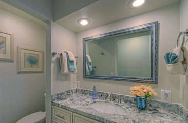 North master mountain view bath has also been remodeled to include pretty new vanity and custom tile