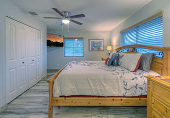 South master mountain view suite has beautiful and comfy king bed, television and views of mountains from windows