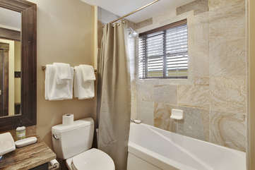 Guest Shower and Tub, Complimentary Organic Body wash and Shampoo Provided