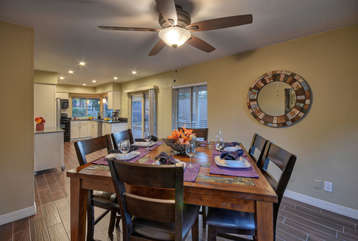 Lovely dining area with pool view and seating for 6