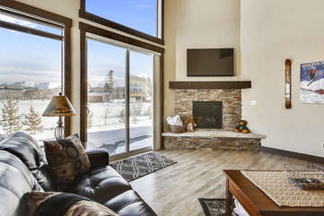 Custom gas fireplace with great views.