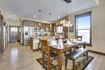 Beautiful dining and kitchen area.