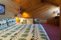 Loft Bedroom #3- upper level, queen bed and full en-suite bathroom, flat screen tv