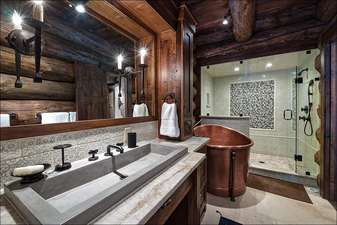 Private Master Bathroom with large soaking tub and steam shower