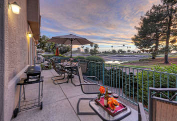 Extra-large private patio with Weber electric grill and magnificent views of golf course