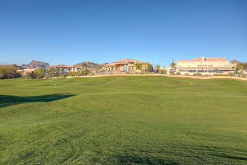 View of remarkable home from the 18th fairway of Red Mountain Ranch Golf Course