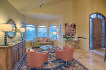 Charming front sitting room has queen sleeper sofa for additional sleeping accommodations