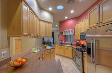 The cook and helpers will be thrilled with the upgraded kitchen and high end appliances