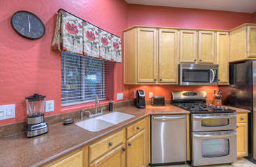 Kitchen is completely stocked so you have everything you need to prepare choice food and drinks