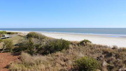 This home is on a quiet stretch of Seabrook's 3.5 miles of sandy beaches.