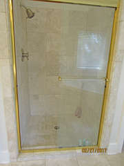 A separate shower is in the master bathroom.