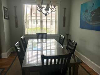 Dining table with seating for six.