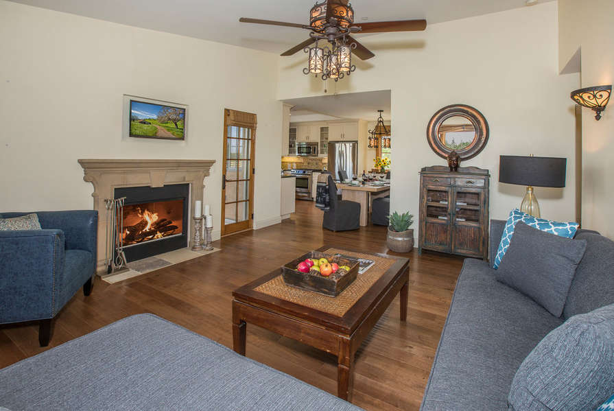 Living Room w/fireplace and TV