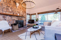 Living Room, Wood Burning Fireplace, Flat Screen TV with Smart Blue Ray Player
