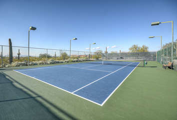 Community tennis courts are available for those who love a match or need to work on their first serve