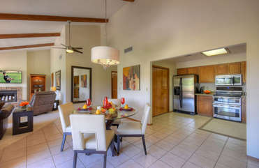 Open and spacious floor plan includes a cozy eating area for formal dining or take-out from nearby restaurants