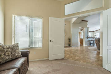 Double doors to den close to provide privacy for relaxing or sleeping
