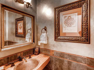 Guest Full Bath with Rustic wooden Counter tops, linens provided