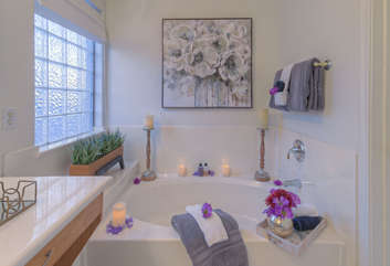 After 18 holes on the course or miles of hiking, this exotic garden tub will provide tranquil moments to soothe tired muscles