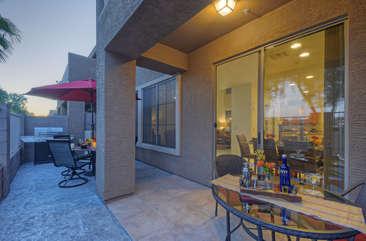 Newly remodeled patio with gas grill is lovely place to enjoy golf course views and create priceless memories with your favorite people